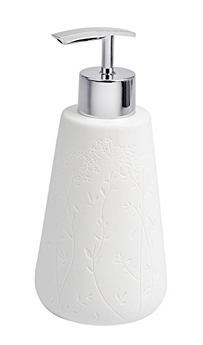 Wenko 22633100Dispensador de jabón Flora, cerámica Color Blanco, 8x 8x 16,5cm