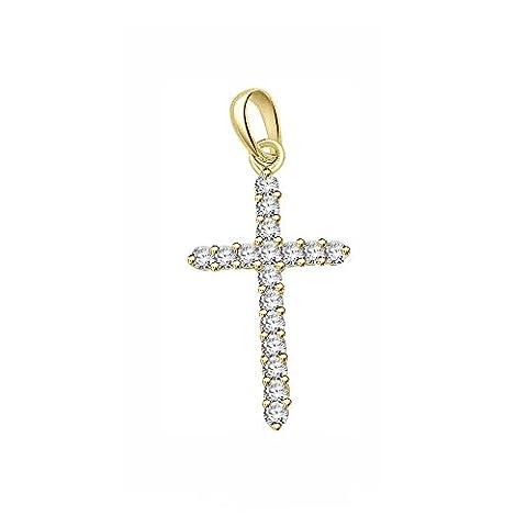 Libertini Women's Corss 0.8Ct Round Cut Diamond Necklace 9ct Yellow Gold, (G-H , SI Clarity)