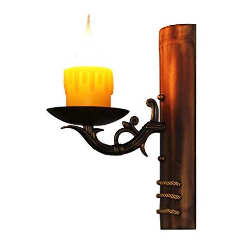 Nicht-ecc Single (Amerikanischen Stil Antike Wandleuchte ländlichen Kreative Gang Cafe Eisen bar treppen Bambus licht Kerze Wandleuchte E14 Einstellbare hängende Wandleuchte LED-licht (Farbe: Single))