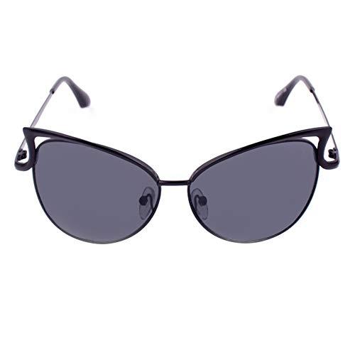 Sport-Sonnenbrille Damen Sonnenbrillen Metallrahmen Cat Eye Spiegel Brille Übergroße Brillen UV400 Schutz Mode (Color : Brown)