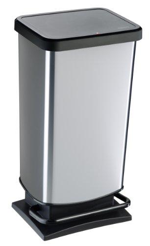 Rotho Paso Mülleimer 40 l  mit geruchdichtem Deckel, Kunststoff (PP), silber metallic, 40 Liter (35,3 x 29,5 x 67,6 cm) (Mülleimer Silber)