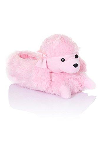 Loungeable Boutique, Nouvelles pantouffles animakes confortables pour femmes Priscilla Pink Poodle