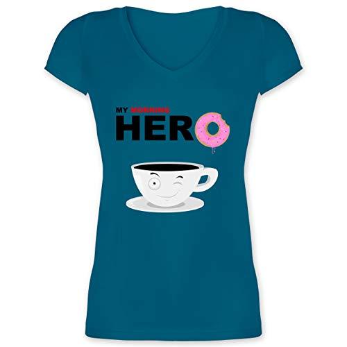 Küche - My Morning Hero - Coffee - L - Türkis - XO1525 - Damen T-Shirt mit V-Ausschnitt -