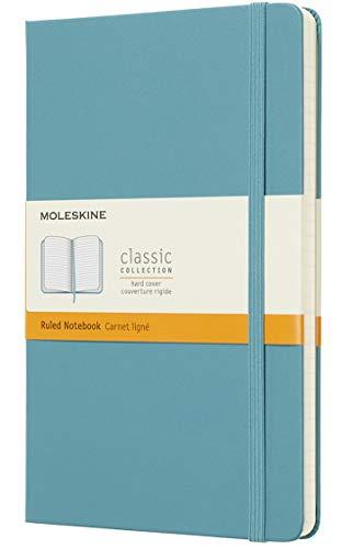 Moleskine Notebook Classic Pagina a Righe, Taccuino Copertina Rigida e Chiusura ad Elastico, Colore Azzurro Blu Reef, Dimensione Large 13 x 21 cm, 240 Pagine