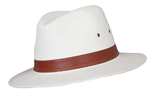 Homme Coton Fedora A232 - Marron - Naturel, Small 57cm, Naturel