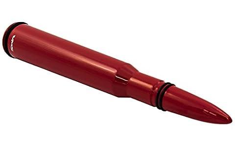50CAL Calibre Rouge Bullet antenne Noir avec anneaux épais en aluminium usiné CNC billet courte pour Dodge Ram 1500250035001994–2017