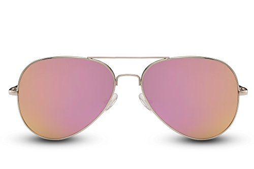 Cheapass Sonnenbrille Verspiegelt Rosé-Gold Piloten-Brille UV400 Festival-Brille Rund Metall Damen Herren