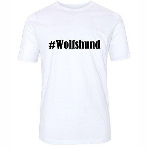 T-Shirt #Wolfshund Hashtag Raute für Damen Herren und Kinder ... in den Farben Schwarz und Weiss Weiß