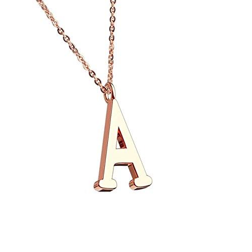 beyoutifulthings Halskette Anhänger BUCHSTABE A INITIALEN Kette Damen-Halskette Schmuck Collier Edelstahl Roségold