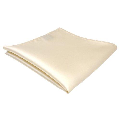 TigerTie Einstecktuch in creme beige elfenbein einfarbig - Tuch Polyester - Kavalierstuch Pochette Stecktuch