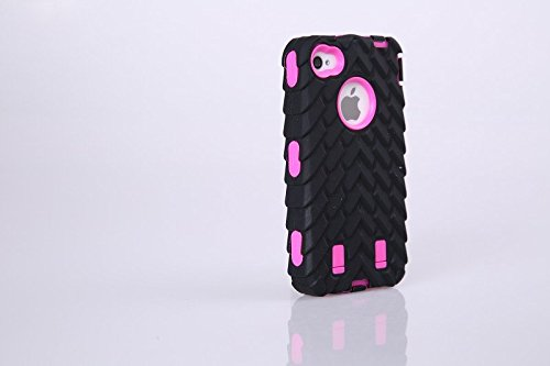 4S Iphone Coque,Lantier Tire Conception fraîche de la série 3 en 1 Heavy-Duty Dual Layer Soft Touch Housse de protection avec boîtier intérieur dur PC pour Apple Iphone 4S orange Tire Hot Pink