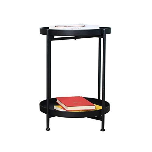 MUCHENG ZI Einfacher Tisch Einfacher doppelter Kleiner Couchtisch Wohnzimmer Sofaecke Mehrere Schlafzimmer Nachttisch Schmiedeeisen Kleiner runder Tisch (Farbe : Schwarz) | Schlafzimmer > Nachttische | MUCHENG ZI