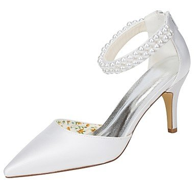RTRY Donna Scarpe Matrimonio Della Pompa Base Raso Elasticizzato Primavera Estate Party Di Nozze &Amp; Sera Perla Stiletto Heel White 3A-3 3/4In Bianco Us9 / Eu40 / Uk7 / Cn41 US9.5-10 / EU41 / UK7.5-8 / CN42