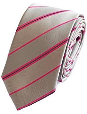 Corbata de Fabio Farini rayado en gris-rosa fucsia-negro