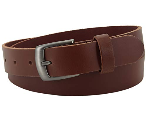 Vascavi Leather leather belt, 3 cm wide and approx. 0,3 cm thick, genuine leather, Made in Germany, for men and women # 3-0011fr (110 cm Total length 125 cm, Light brown)