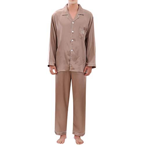 Pyjamas Set Lässig Reine Farbe Langärmelige Gemütliche Lose Taste Revers Hemd Weites Bein Lange Hose ()