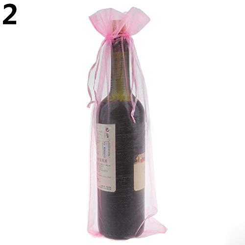 FEIDAjdzf Weinflaschenabdeckungen, hässlicher Pullover, Organza, mit Kordelzug, Weinrot, 10 Stück rose
