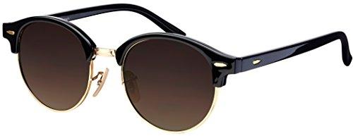 Sonnenbrille Halbrahmen La Optica UV 400 Schutz Unisex Damen Herren Rund Round - Schwarz Gold (Gläser: Braun)