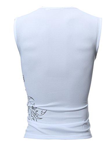 Boom Fashion Herren Top T-Shirt Sport Elastizität Slim Fit Drucken Weiß