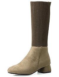 RTRY Zapatos De Mujer Tejer Cuero De Nubuck Polipiel Otoño Invierno Moda Slouch Botas Botas Botas Chunky Talón...