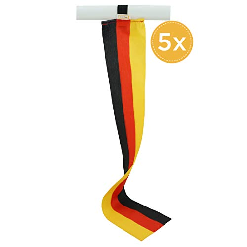 5er-Set Deutschland Mini-Flagge, Kleine Deko-Fahne, Fan-Artikel für Fußball u. Handball National-Mannschaft WM EM Eurovision Song Contest oder Dekoration für Schüler-Austausch Messe Urlaub u.v.m.