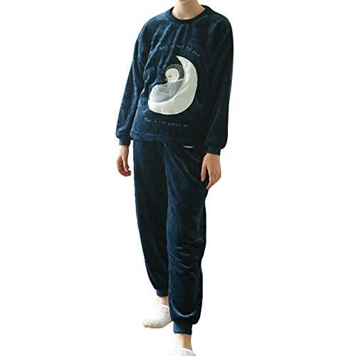VIVOSUN Damen 2-teilige Schlafanzüge Mond Flannel Langarm Nachthemd Baumwolle Pyjama Winter Sleepwear Set Dunkelblau L -