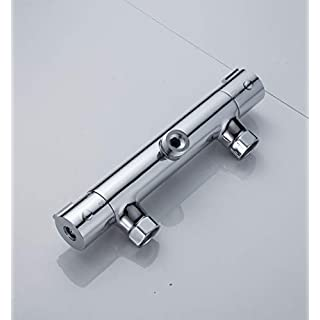 Sccot Thermostatic Shower Valve Mixer Tap, Wall Mounted Bar Shower Mixer Tap, Brass Body Chrome Finished, Outlet G 1/2