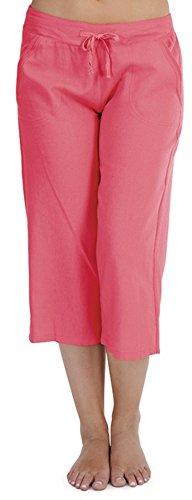 Tom Franks Hose aus Leinen-Mischgewebe, 3/4-Länge, mit gerippter Taille Gr. 40, rose (Capri-hosen Unten)
