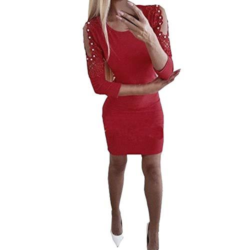 Beginfu Mode Frauen Kleid Sexy Spitze Perle trägerlosen Drei Viertel solide Party Kleid Eleganter...