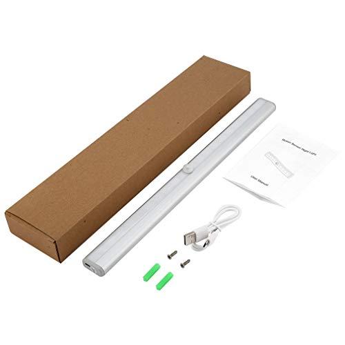 DERNON 20 LED USB wiederaufladbare LED Sensor Kabinettlicht 3 Modi Schalter Nachtlicht Silber -