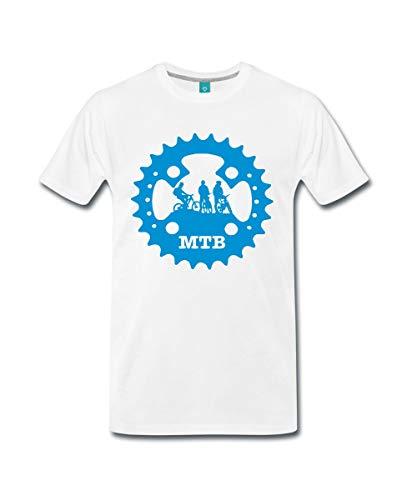 Spreadshirt Mountainbike Kettenblatt MTB Fahrrad Männer Premium T-Shirt, 5XL, Weiß