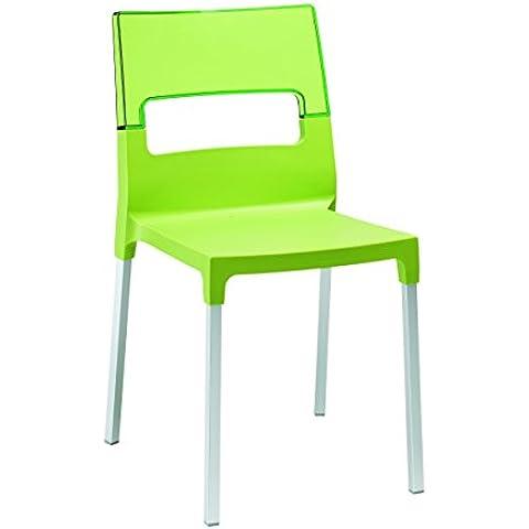 Sedia Diva Scab Verde Pistacchio+Trasparente Verde