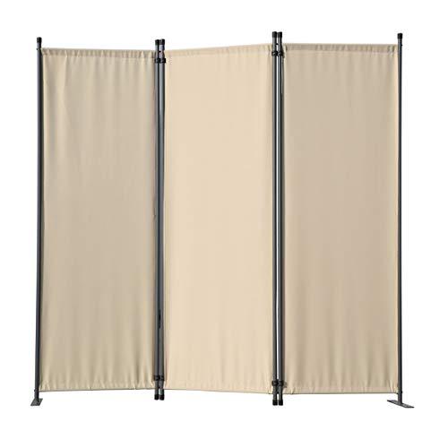 Angel Living 5870320 Paravent 3tlg Raumteiler Trennwand Sichtschutz 3 Fach Faltbar Sichtschutz (169x165cm, Beige)