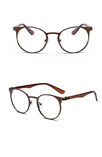 P-WEIAN Brille anti-blue Brillengestell kleiner klarer flacher Spiegel Metall Brillengestellunisex, Kaffee gebürstet