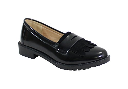 By Shoes Richelieu Plat Style Vernis - Femme Noir