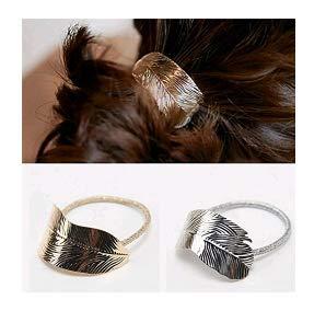 Hwiionne Haarschmuck aus Metall mit dünnen Blättern aus Gummi für Frauen Gold (Dünne Gummi-blatt)