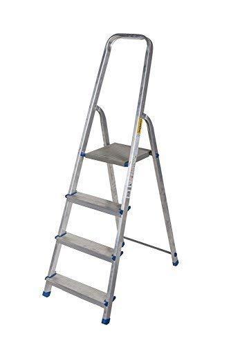 Alu Leiter 3 bis 8 Stufen Haushaltsleiter Malerleiter Mehrzweck Klapptrittleiter TÜV (4 Stufen)