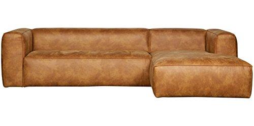 Canapé d'angle droit en cuir et polyester coloris cognac - Dim : H 73 x L 305 x P 96/175 cm -PEGANE-
