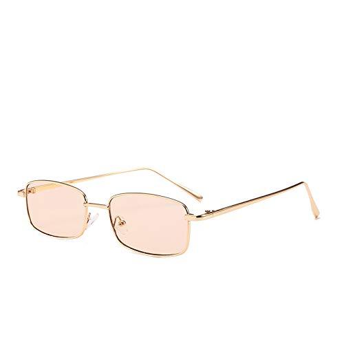 Yangjing-hl Net rote Brille weibliche Flut Box Gold Seide Sonnenbrille Big Box rundes Gesicht war dünn Vier Quadrate einfache Sonnenbrille Männer Goldrahmen Champagner -