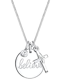 Elli Halskette Believe Wording Glaube Kreuz Zirkonia 925 Silber 0112111516