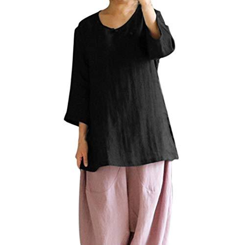 GJKK Bluse Damen Elegant Chinesischen Stil Cheongsam Baumwolle Leinen Tops Beiläufige Shirt Oberteil Damen Herbst 3/4 Ärmel Hemd Übergröße Tunika(S-5XL)