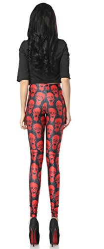 THENICE Damen Sexy Elastic Strumpfhosen Leggings Pants Red Skull
