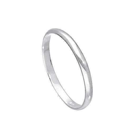Sterling Silber 2mm Ehering in D Form Größe 65 (Erhältliche Größen: 43-65)