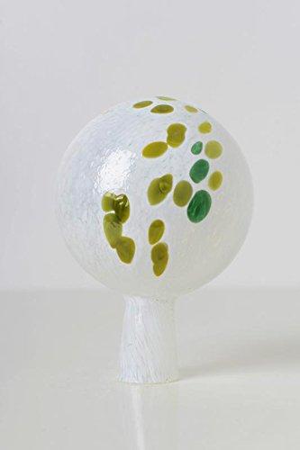 Rosenkugel aus Glas für den Garten - perfekte handgemachte Garten-Dekoration für Ihr Blumenbeetin vielen Farben, Formen und Größen, Hoche 12cm und Durchschnittlich 9cm, Weiss mit Grn Farbe