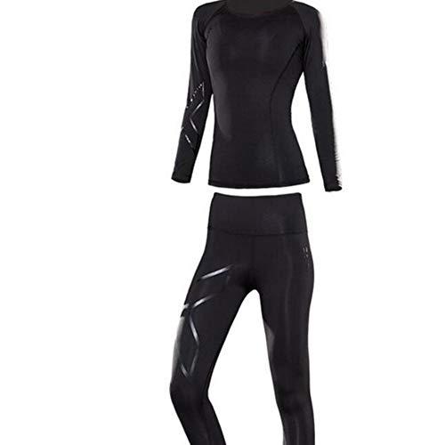 E3e4m Yoga Sport Plus Samt Fitness Yoga Kleidung Anzug Frauen Langarm-Hosen warm Heizung Schweiß absorbierenden Körper Gewichtsverlust Übung Lauf Winteranzug,S