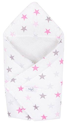 Babydecke zum Einwickeln Baby Einschlagdecke/Babyhörnchen 100% Baumwolle 80x80cm (Farbe Sterne) (Seiden-robe Kurze)