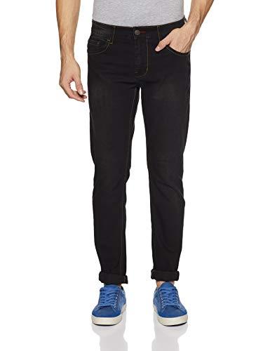 Newport by Unlimited Men's Slim Fit Jeans (400017730875_Black-Ds_32W x 34L)