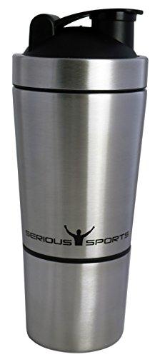 SERIOUS SPORTS Premium Protein-Shaker La proteína agitador  Hecho de acero inoxidable 18/8...