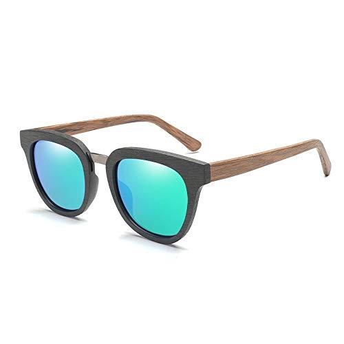 Easy Go Shopping Klassische quadratischen Rahmen Bambus Sonnenbrille Mode Bunte Männer polarisierte Sonnenbrille Sonnenbrillen und Flacher Spiegel (Color : Grün, Size : Kostenlos)