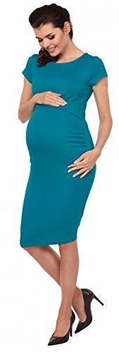 Zeta Ville - Maternité Robe de grossesse d'allaitement ras du cou - femme - 971c Aqua